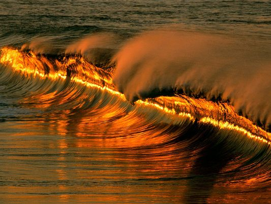 Image of Nature Landscape, the Setting Sun, Reflection in the Waves, Golden Waves