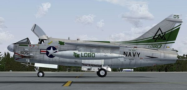 click to free download the wallpaper--Image of Paris Air Show, US Navy Vought A-7 Corsair II on the Ground