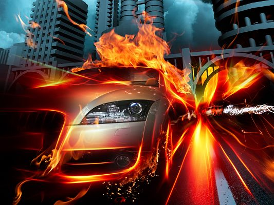 Images of Cars - Car in Fire City Post in Pixel of 2560x1920, a Firing Car, Stay Away from It, Can Explode at Any Minute