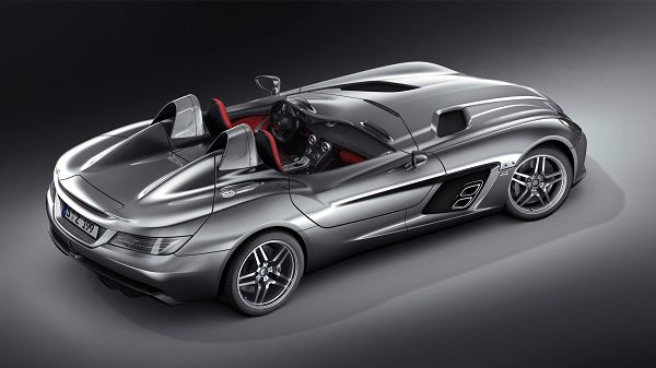 click to free download the wallpaper--Images of Cars - Mercedes Benz Post in Pixel of 1920x1080, Silvery Super Car in Stop, Black Background, Looking Good