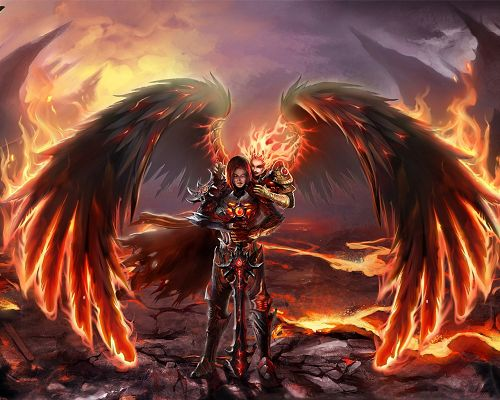 click to free download the wallpaper--Images of Games, Heroes of Might and Magic, the Two Are with Black Wings, Hard to Believe