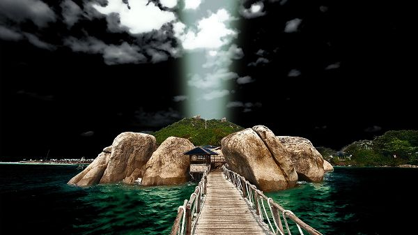click to free download the wallpaper--Images of Natural Scene - A Wooden and Clean Bridge Across the Blue Sea, Lightning from Heaven
