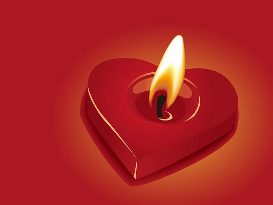 Images of Romance, Heart-Shaped Candle Lighted Up, a Warm Light Making a Circle