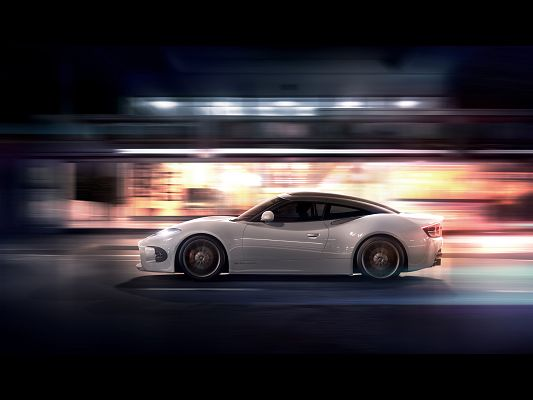 Images of Super Cars, Spyker-B6 Venator Concept on the Road, White and Shinning Car, Decent in Look