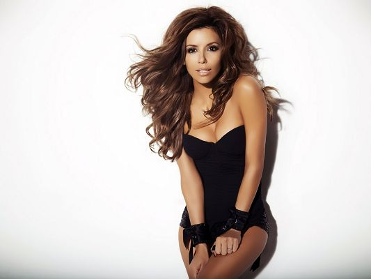 click to free download the wallpaper--In Black Bikini and Looking Directly at the Screen, Hands Have been Tied up, She is Just a Sexy One - HD Eva Longoria Wallpaper