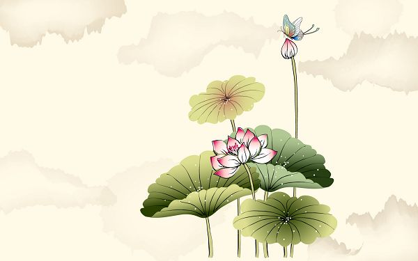 click to free download the wallpaper---In Bloom and Bud, Butterfly is Flying around, White Spots Seem as if They Shine, All are a White Background - Hand-Painted Natural Plants Wallpaper