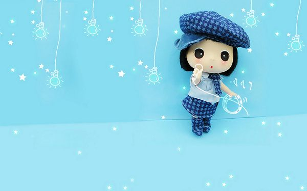 click to free download the wallpaper---In Blue Casual Suit and Hat, About to Sing a Song, Setting is Beautifully Decorated - Mini ddgirl Wallpaper