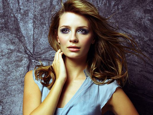 click to free download the wallpaper--In Blue Dress and Appealing Pose, Hand is Put on Neck, Eyes Have Got Stories, Indeed an Attractive Girl - HD Mischa Barton Wallpaper