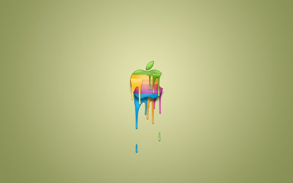 click to free download the wallpaper---In Melting Ice Cream Design, and Part of It is Melting, Hot Weather Can be Anticipated - HD Widescreen Apple Wallpaper
