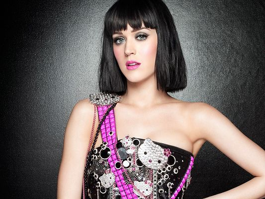 click to free download the wallpaper--In Tight Black Dress and Snowy White Skin, She Looks Really Good and Impressive in Black Short Hair - HD Katy Perry Wallpaper