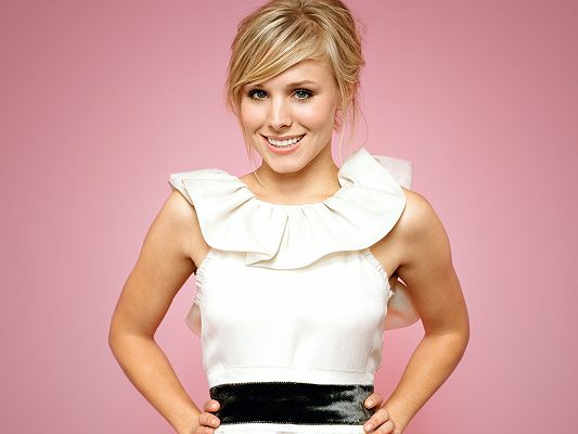 In White Dress and Smiling Facial Expression, on Pink Background, She is Such a Beautiful Sweetie! - HD Kristen Bell Wallpaper