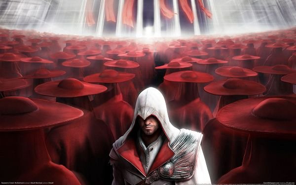 click to free download the wallpaper--In White Suit and Standing in the Middle, Can be Such a Standout Among the Red Crowd - Assasin's Creed Wallpaper