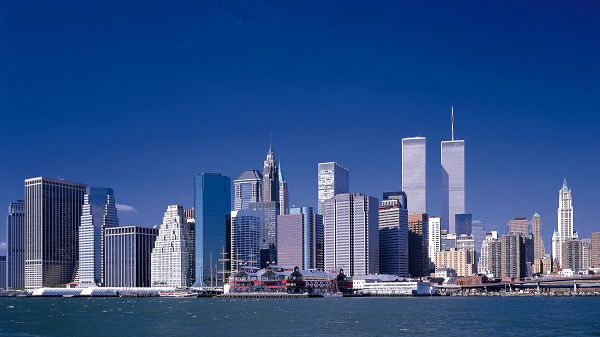 Includes New York Twin Towers, Differing in Height, Overall Harmony is Achieved - Widescreen Building Scenery Wallpaper