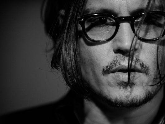 click to free download the wallpaper--Incredible TV Show Images, Johnny Depp Monochrome, Sexy Beard and Black Glasses, Handsome Guy