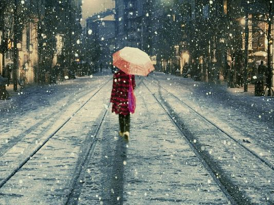 Incredible TV Shows Image, Girl Walking in Snow, Schoolsuit and Umbrella, Are You Lonely?