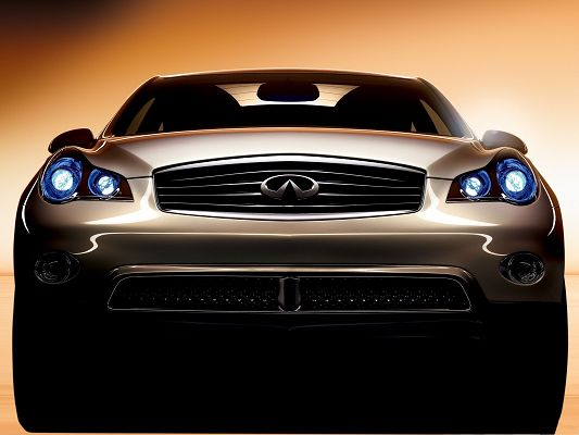 click to free download the wallpaper--Infiniti Car Wallpaper, Brown Super Car in Stop, Generating Blue Lights