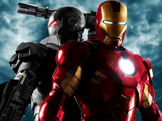 click to free download the wallpaper--Iron Man 2 Movie Post in 1600x1200 Pixel, Two Guys on Great Alert, They Shall be Doing Good on Your Device and Battlefield - TV & Movies Post