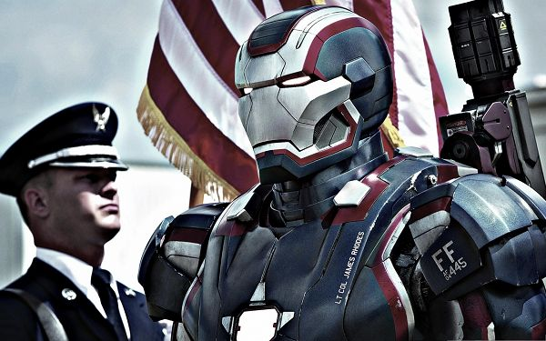 click to free download the wallpaper--Iron Patriot In Iron Man 3, Highly Respected Man - Free 3D Movie Posts