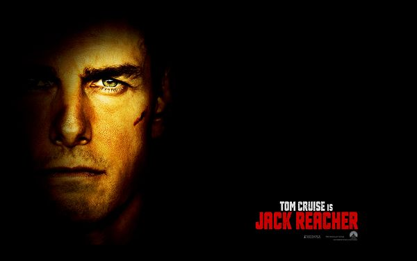 click to free download the wallpaper--Jack Reacher Movie HD Post in Pixel of 1920x1200, the Man's Face is Getting Much Highlighted, Dark Background, He is Cool and Fit - TV & Movies Post