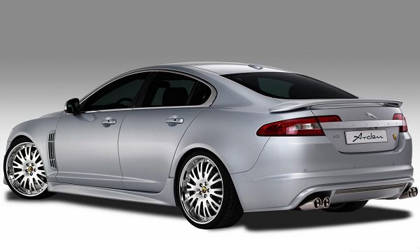 click to free download the wallpaper--Jaguar XF Arden Car, Gray Super Car About to Turn a Corner, Put on White Background