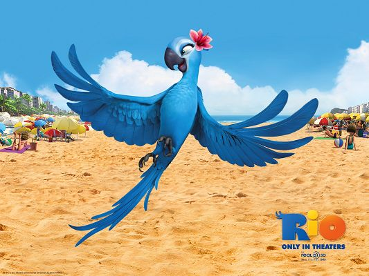 Jewel in Rio Movie Post in 1600x1200 Pixel, Female Bird in Pink Flower, Eyesight is Quite a Fit, She is Indeed Attractive - TV & Movies Post