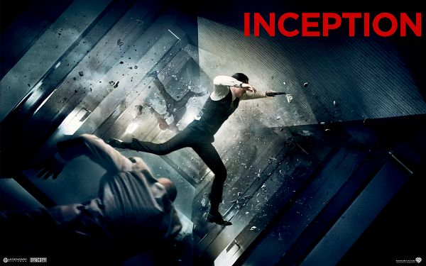 click to free download the wallpaper--Joseph Gordon Levitt in Inception Post in 1920x1200 Pixel, the Man is in Quite a Hurry and Danger, Broken Pices Are Flying - TV & Movies Post