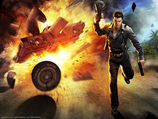 click to free download the wallpaper--Just Cause Game HD Post in Pixel of 1600x1200, Man with His Gun, Escaping an Explosion, Hope He Will Survive - TV & Movies Post