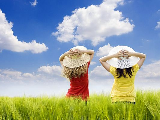click to free download the wallpaper--Kids in Nature, Two Girls Outdoor, Enjoying Natural Landscape
