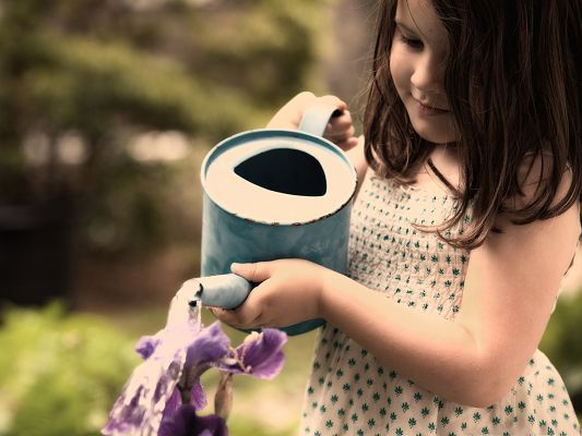 click to free download the wallpaper--Kind Girls Photo, Young Little Girl Watering Plants, Take Good Care of Them!