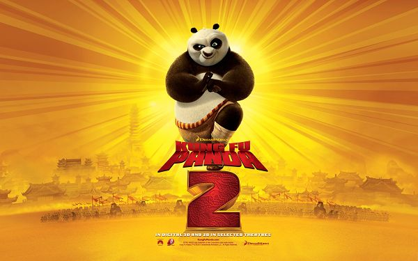 click to free download the wallpaper--Kung Fu Panda 2 2011 Post in 1920x1200 Pixel, in Defiant Eyesight, He is Looking Fun and Great - TV & Movies Post