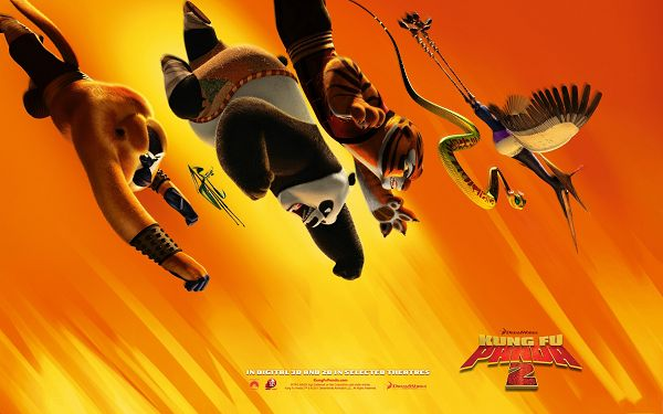 click to free download the wallpaper--Kung Fu Panda 2 Movie Post in 1920x1200 Pixel, Guys Falling Down Like a Flash, Wow, Great in Look, Must be in Severe Battle - TV & Movies Post