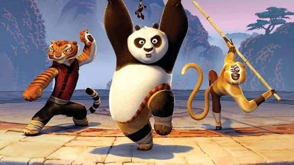 Kung Fu Tigress Panda Monkey Post in 1920x1080 Pixel, the Three in Practice and Their Master Pose, Great Scene - TV & Movies Post