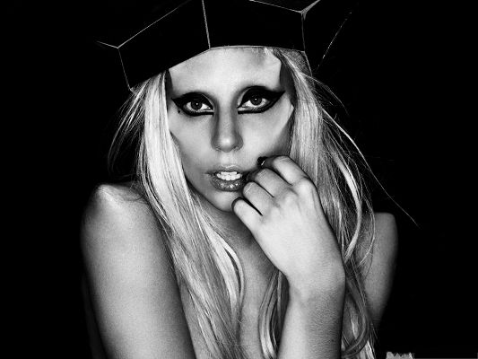 click to free download the wallpaper--Lady Gaga Poster, Smokey Eyes and Black Hat, Naked Body