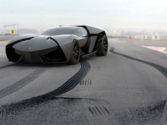 click to free download the wallpaper--Lamborghini Ankonian Concept Car, Black Car Wrapped into a Box, Great in Look