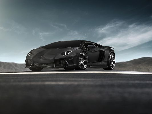 click to free download the wallpaper--Lamborghini Aventador Wallpaper, Black Supercar in the Stop, Decent and Great Look