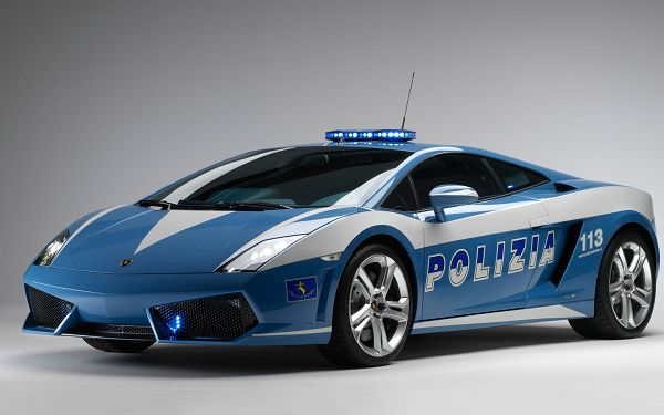Lamborghini Police Car, Blue Super Car in the Stop, Speed is Never a Concern
