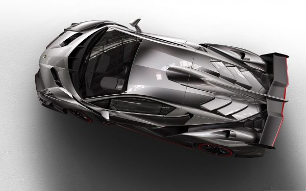 Lamborghini Veneno Supercar, Super Gray Car Seen from Birds' Eye View