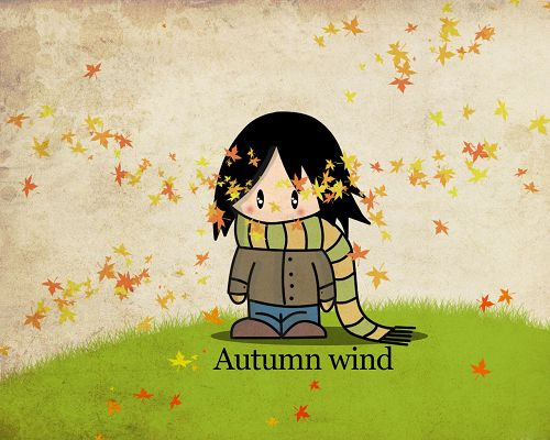 click to free download the wallpaper---Leaves Flying in Autumn Wind, a Girl Standing Alone, Seems Lonely and Helpless, Come on and Help Her out - HD Creative Wallpaper