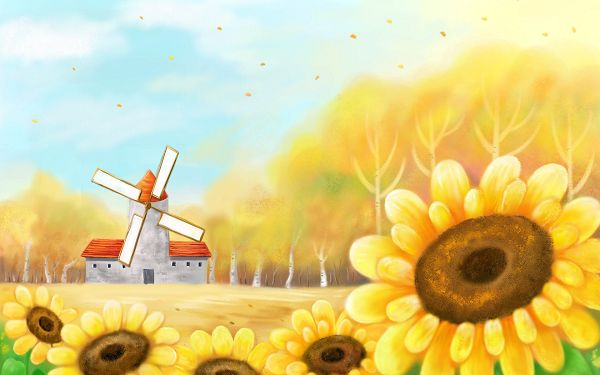 click to free download the wallpaper---Leaves in Free Flying, Working Windwill and Smiling Sunflowers, What an Incredible Scene - Autumn Fairy Tales Illustrations Wallpaper