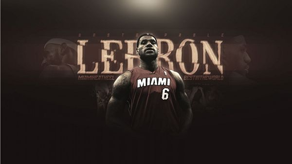 click to free download the wallpaper--Lebron James in Miami Heat Jersey, 1366x768 Pixel, Hope the King and His Team to the Finals in the Playoffs - Basketball Super Stars Wallpaper