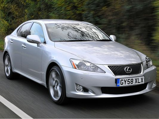 click to free download the wallpaper--Lexus Cars as Background, Silver Car in Incredible Speed, Running Straight