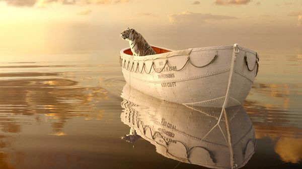 click to free download the wallpaper--Life of Pi, the Tiger is Sitting on Boat Alone, Where Will the Boat Take Him? - TV & Movies Wallpaper
