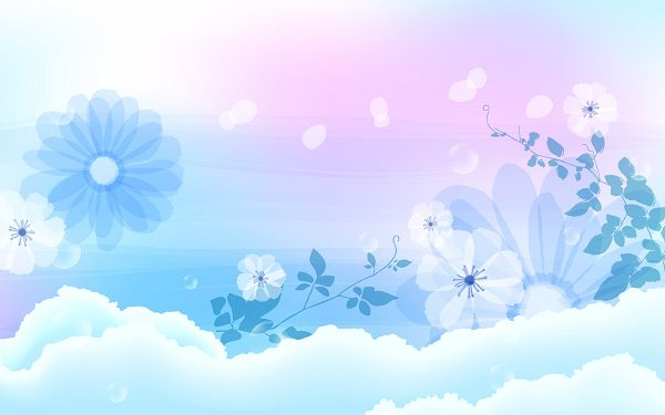 click to free download the wallpaper---Light Blue Flowers and White Background, Displaying a Pure and Clean World, Without Any Evil and Negative Emotions - Cartoon Flowers Wallpaper