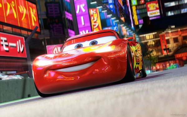 Lightning McQueen in Cars 2 in 2560x1600 Pixel, a Red and Shinning Happy Car, He Must be Doing Well in Japan - TV & Movies Post