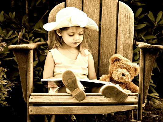 click to free download the wallpaper--Little Girl Outdoor, Doing Reading Among Nature Landscape, Bear Doll Around