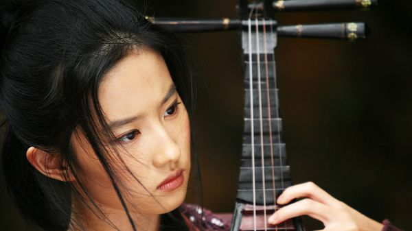 Liu Yifei in Ancient Musical Instrument, Must be Creating Some Beautiful Melody, Time to Enjoy! - HD Artists Wallpaper