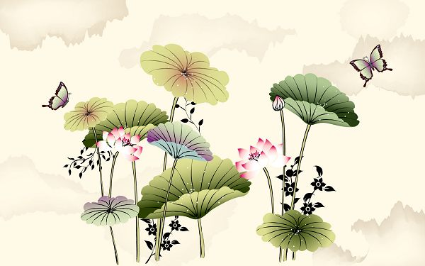 click to free download the wallpaper---Lotus in Bloom, Butterflies Are Unwilling to Leave, Seems You Can Smell the Flower, Very Lovely and Lively Scene - Hand-Painted Natural Plants Wallpaper
