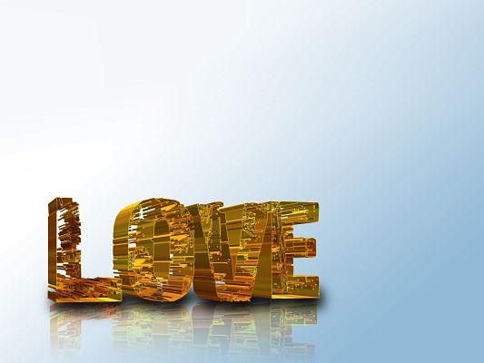 click to free download the wallpaper--Lovely and Romantic Wallpaper, Golden LOVE, Blue Background, Feel Lovely Atmosphere