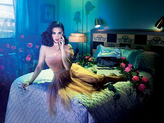 Lying on Bed and Has a Finger in the Mouth, Environment is Romantic, the Scene is Too Good to be True - HD Katy Perry Wallpaper