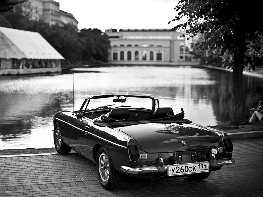 click to free download the wallpaper--MG Car Wallpaper, Black Car in Old Style, by Lake Side
